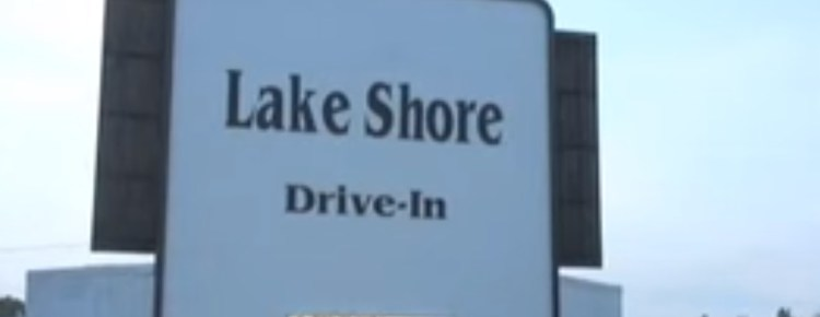 Old Lake Shore Drive-In screen and marquee