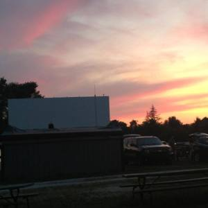 Drive-In concession stand and screen at twilight
