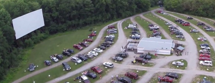 Aerial view of the Starlite Drive-In viewing area and screen