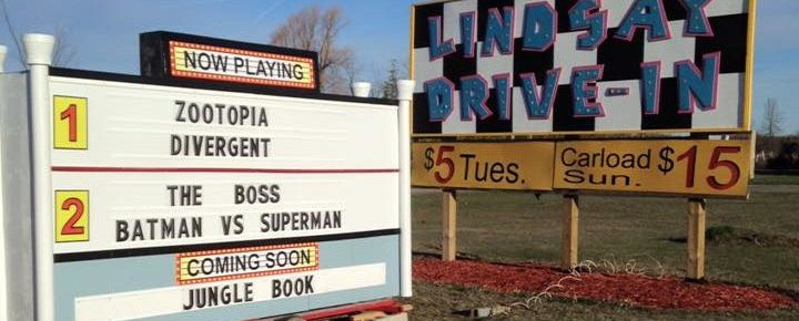 Lindsay Drive-In sign and marquee