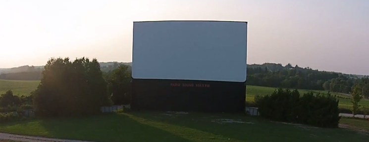 Aerial view of the Mustang Drive-In screen