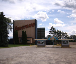 Mustang Drive-In screen tower and box office