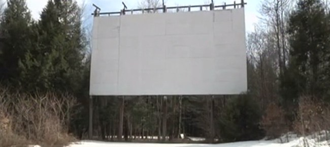 Original wooden screen at the Bethel Drive-In as it looked in 2014