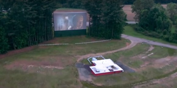Aerial view of the Northfield Drive-In screen and concession stand
