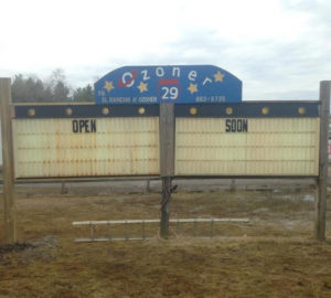 "Ozoner 29 marquee saying ""Open Soon"""