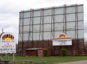 Sunset Drive-In marquee and back of screen