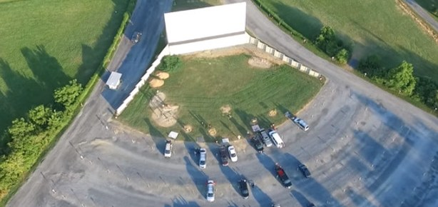 Aerial view of Screen 1 at the Family Drive-In