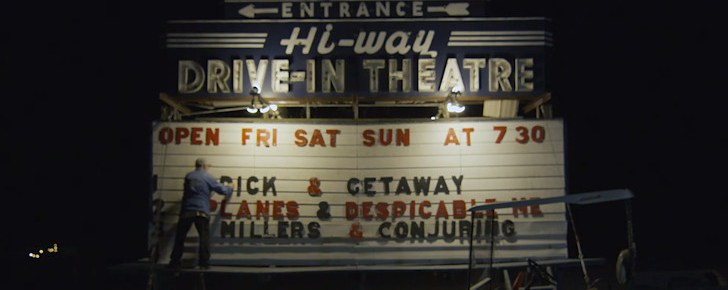 Worker changing letters on the Hi-Way Drive-In marquee