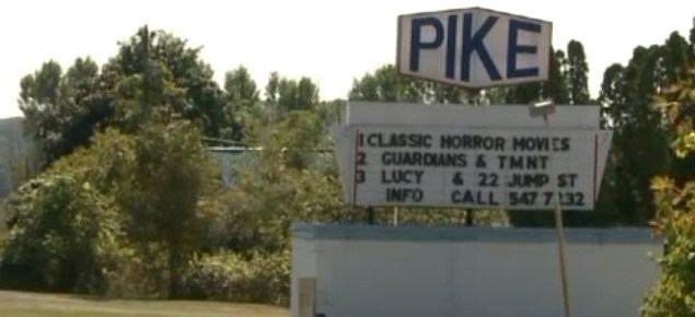 Pike Drive-In marquee in daylight