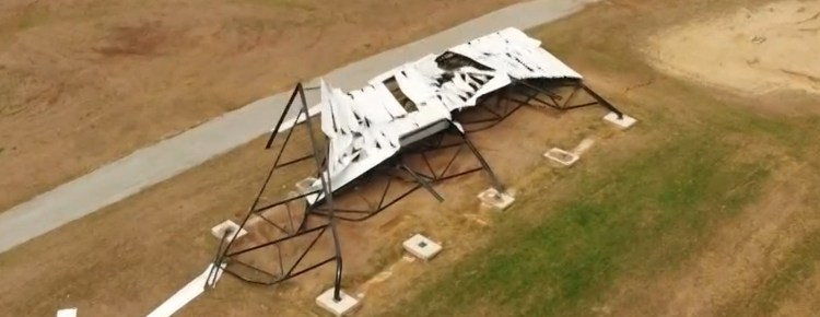 Collapsed drive-in screen, seen from above