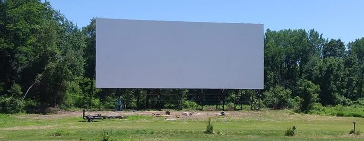 Clean wide drive-in screen in daylight