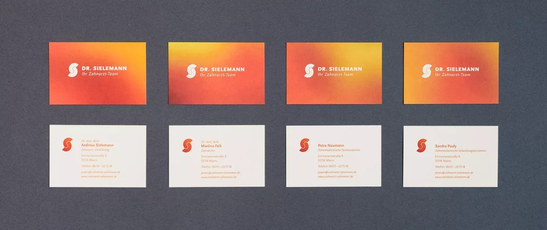Design der Visitenkarten für Zahnarzt Dr. Sielemann in Mainz