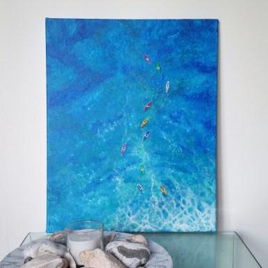"""""""Pursuit"""" Acrylic on canvas, 50x40 cm. Unframed. £ 130."""