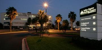Valley Baptist Medical Center exterior at night