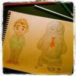 Dibujé a estos personajillos y cuándo les pregunté cómo se habían conocido... supe que tenía una historia que contar.