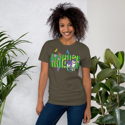 CAT-IN-THE-GARDEN-tshirt military green
