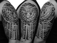 steinbock goat tribal arm tattoo