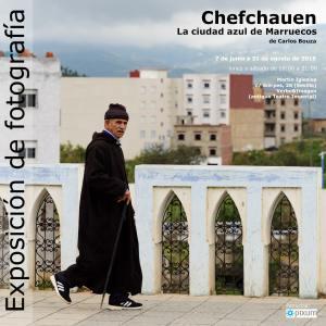 Cartel exposición Cefchauen. La ciudad azul de Marreucos en Martín Iglesias, Sevilla