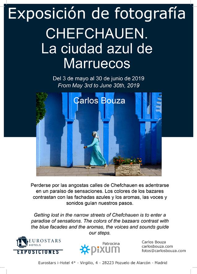 Cartel exposición Chefchauen, la ciudad azul de Marruecos en Eurostars i-Hotel de Pozuelo de Alarcón