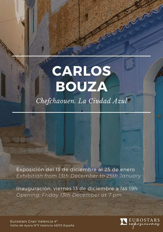 Cartel exposición Chefchaue. Ciudad Azul en Eurostars Gran Valencia