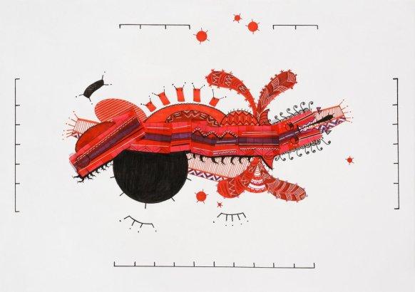 Tinta, marcador , corrector y papel barrilete sobre papel. 30 cm. x 42 cm. 2014