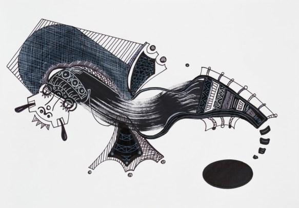 S/T. Tinta, marcador y corrector sobre papel. 21 cm. x 30 cm. 2014
