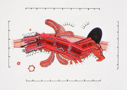 Tinta, marcador , corrector y papel barrilete sobre papel. 21 cm. x 21,5 cm. 2014
