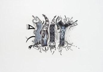S/T. Tinta, marcador y corrector sobre papel. 50 cm. x 70 cm. 2013