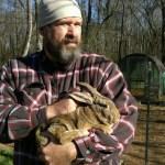 homesteading, rabbit, holding, man