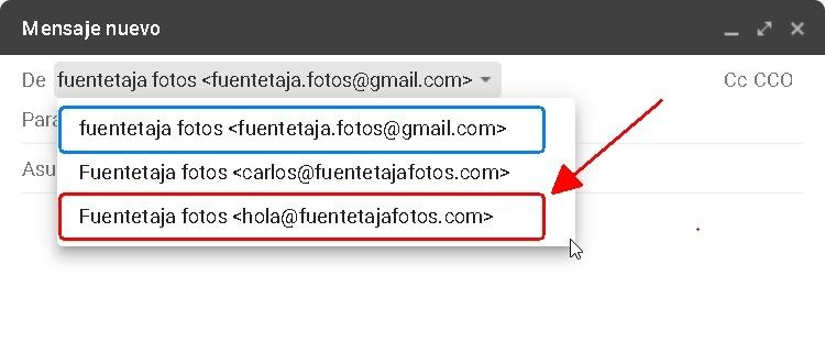 Nuevo correo, dominio propio como remitente,