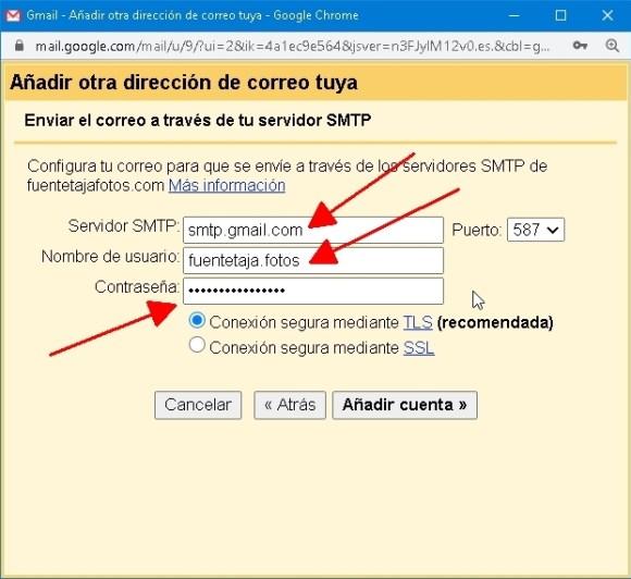 cuenta Gmail, ajustes avanzados, servidor SMTP y contraseña de aplicación.