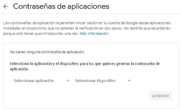 cuenta Gmail, contraseña de aplicaciones 1