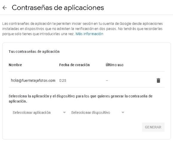 cuenta Gmail, contraseña de aplicaciones, lista de contraseñas generadas.