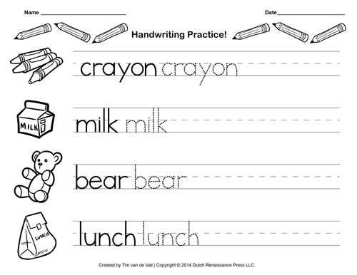 Kindergarten Practice Sheets Scalien – Printable Kindergarten Writing Worksheets