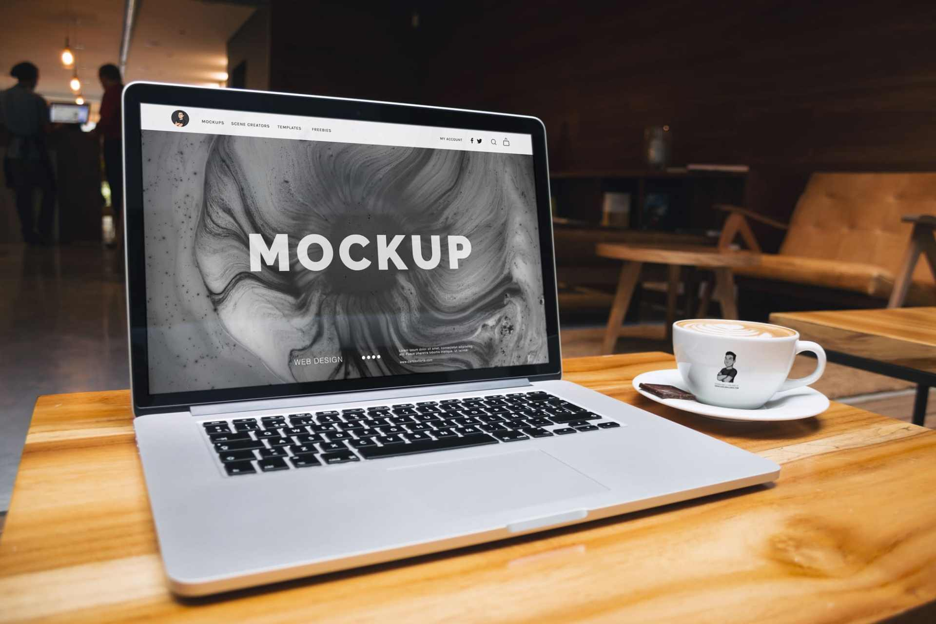 Free Mockup: Macbook Pro Retina and Coffee Cup
