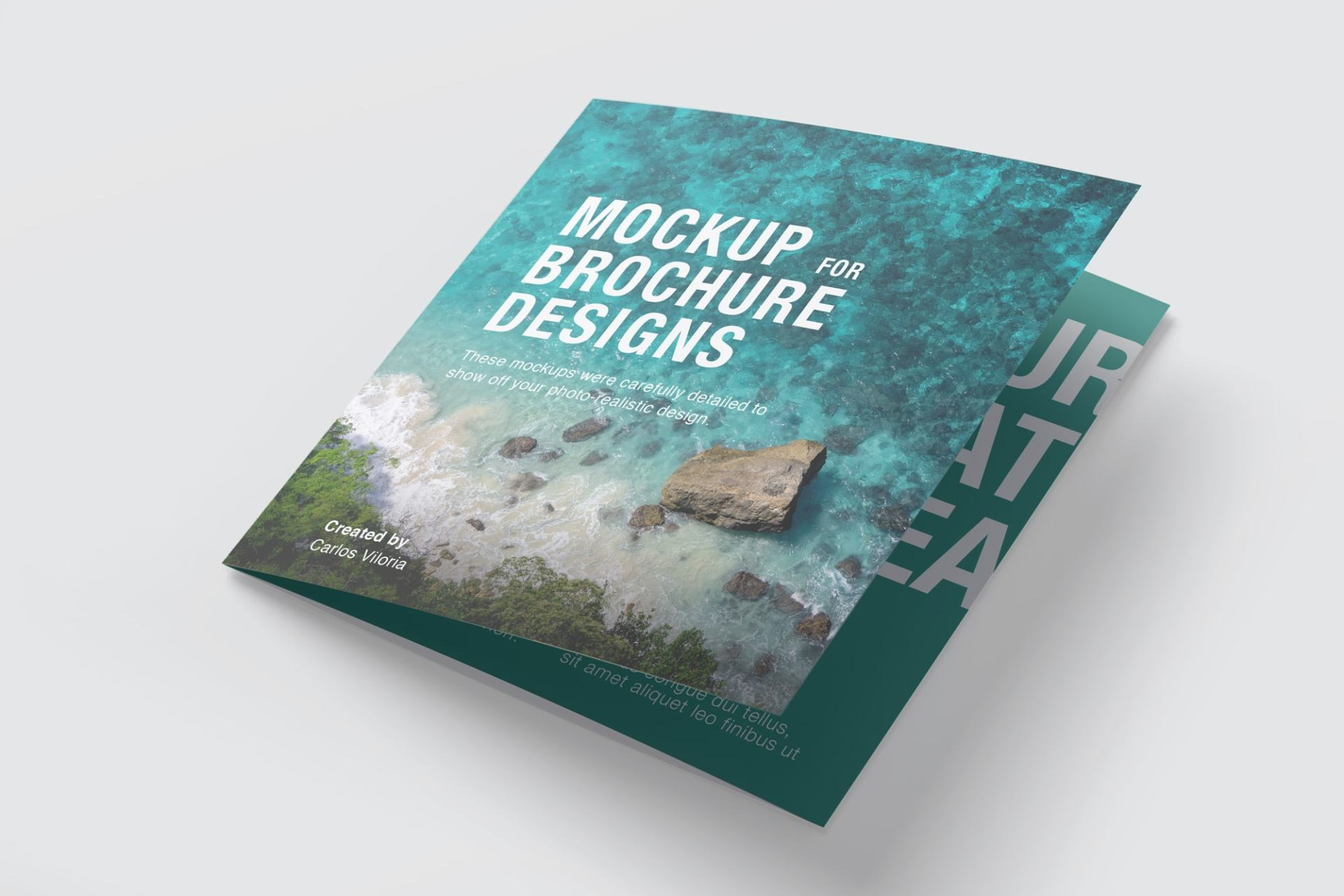 Square Trifold Brochure Cover Mockup 01
