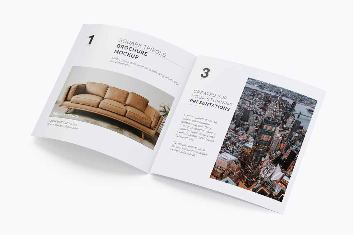 Square Tri-Fold Brochure Mockup 04