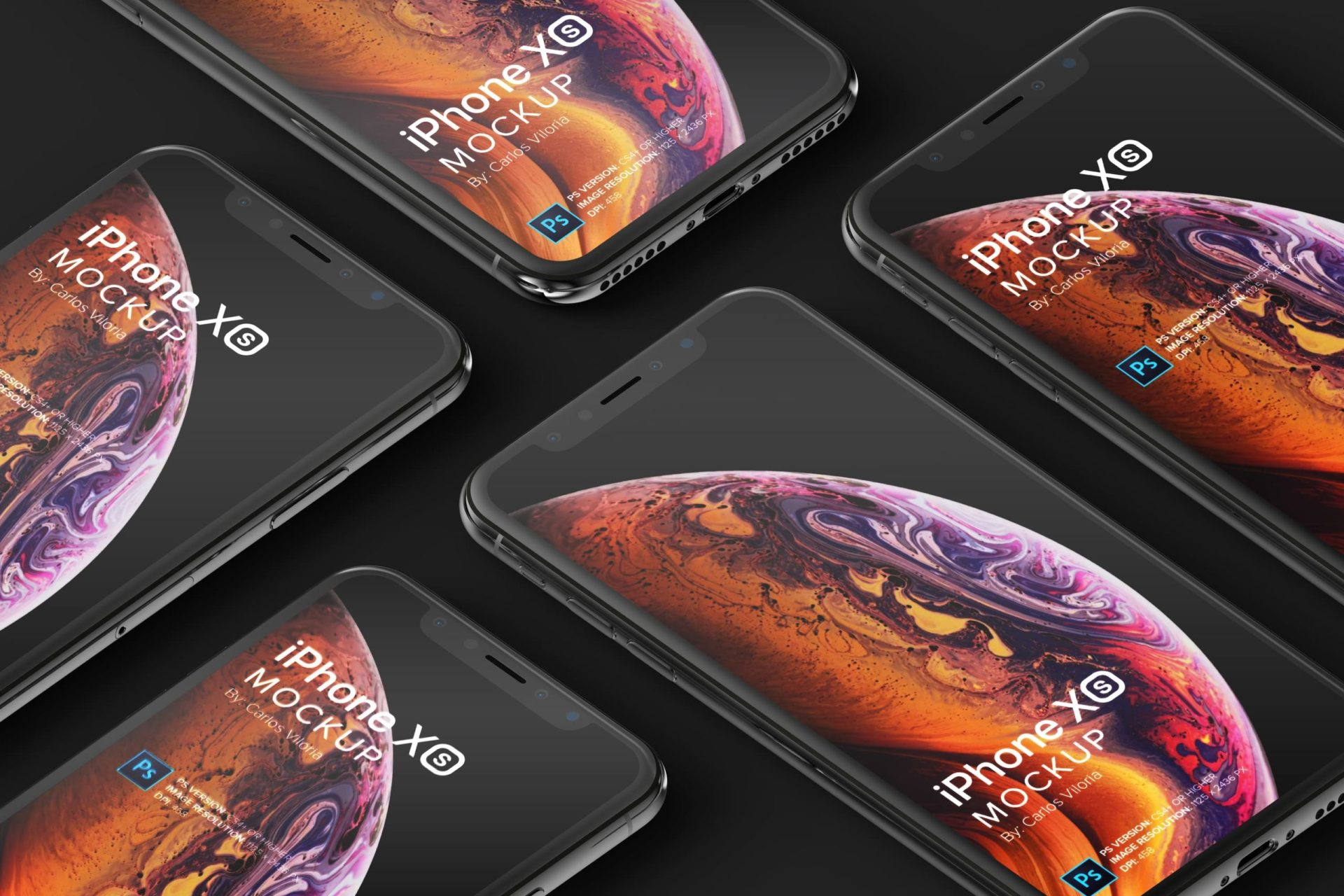iPhone XS Perspective Grid Mockup