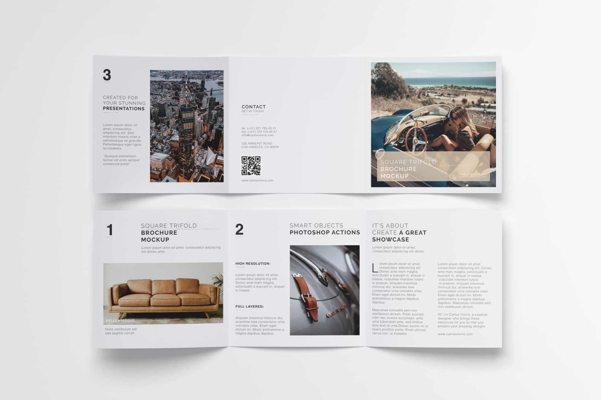 Square Tri-Fold Brochure Mockup 05