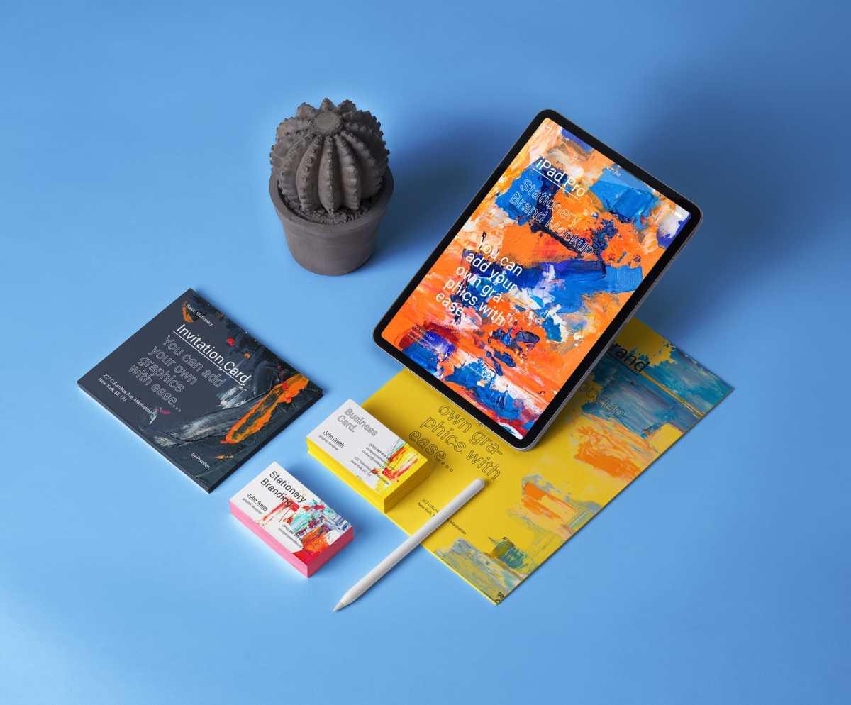 Free iPad Stationery Branding Mockup for Photoshop
