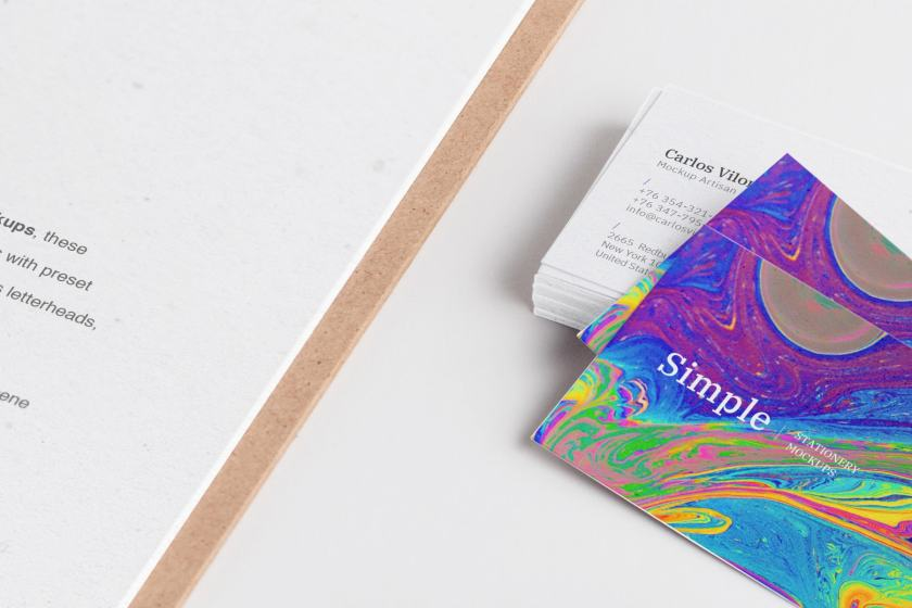 A4 Clipboard and Business Cards Mockup 01