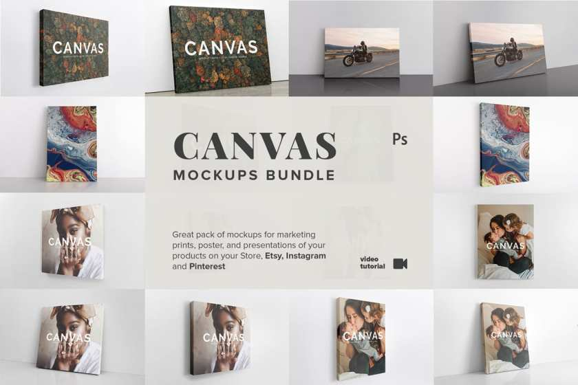 Art Wall Canvas Mockups Bundle