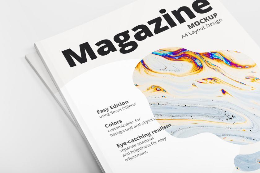 Close Up A4 Magazine Cover Mockup