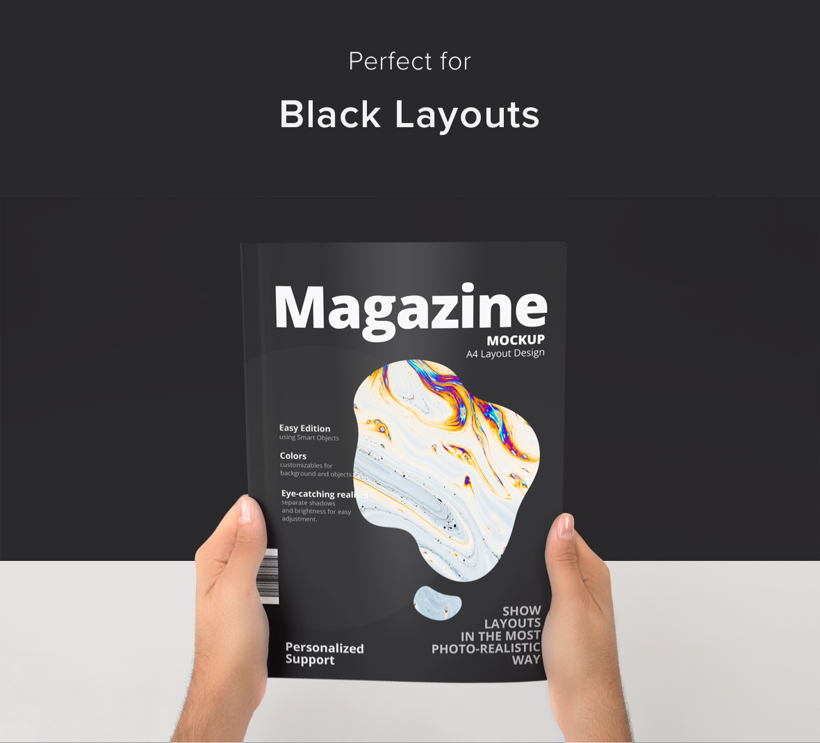 A4 Magazine Cover Held in Hands Mockup for Photoshop