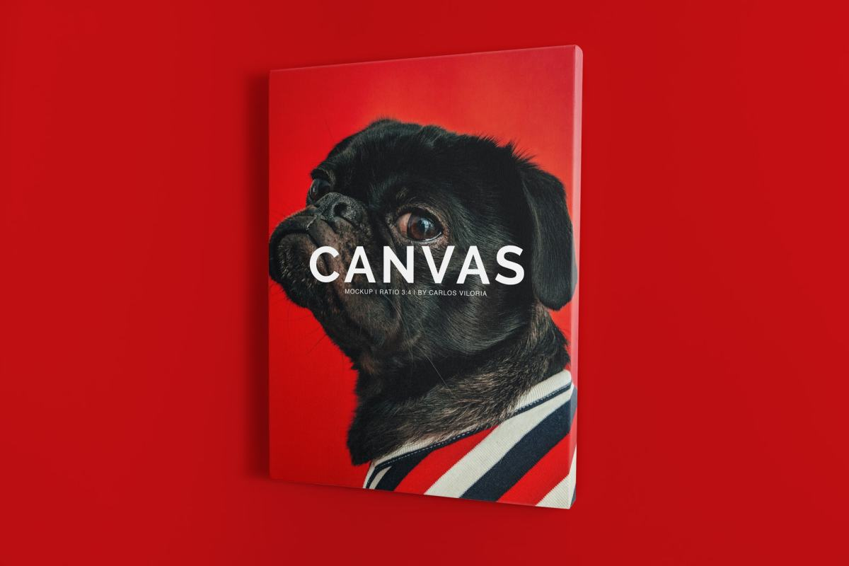 canvas mockups bundle - Portrait Canvas Ratio 3x4 Mockup 02