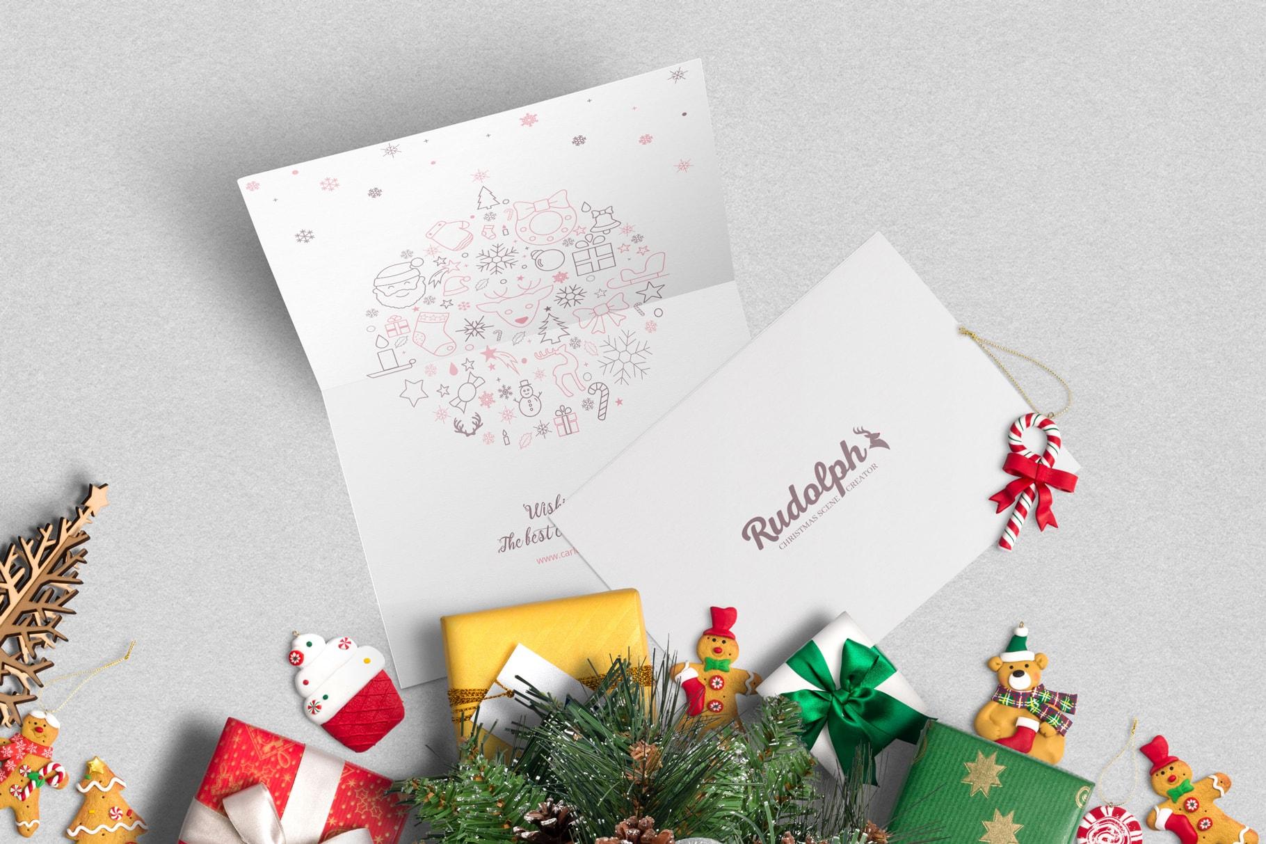 7x5 BiFold Greeting Card Christmas Scene Mockup 01