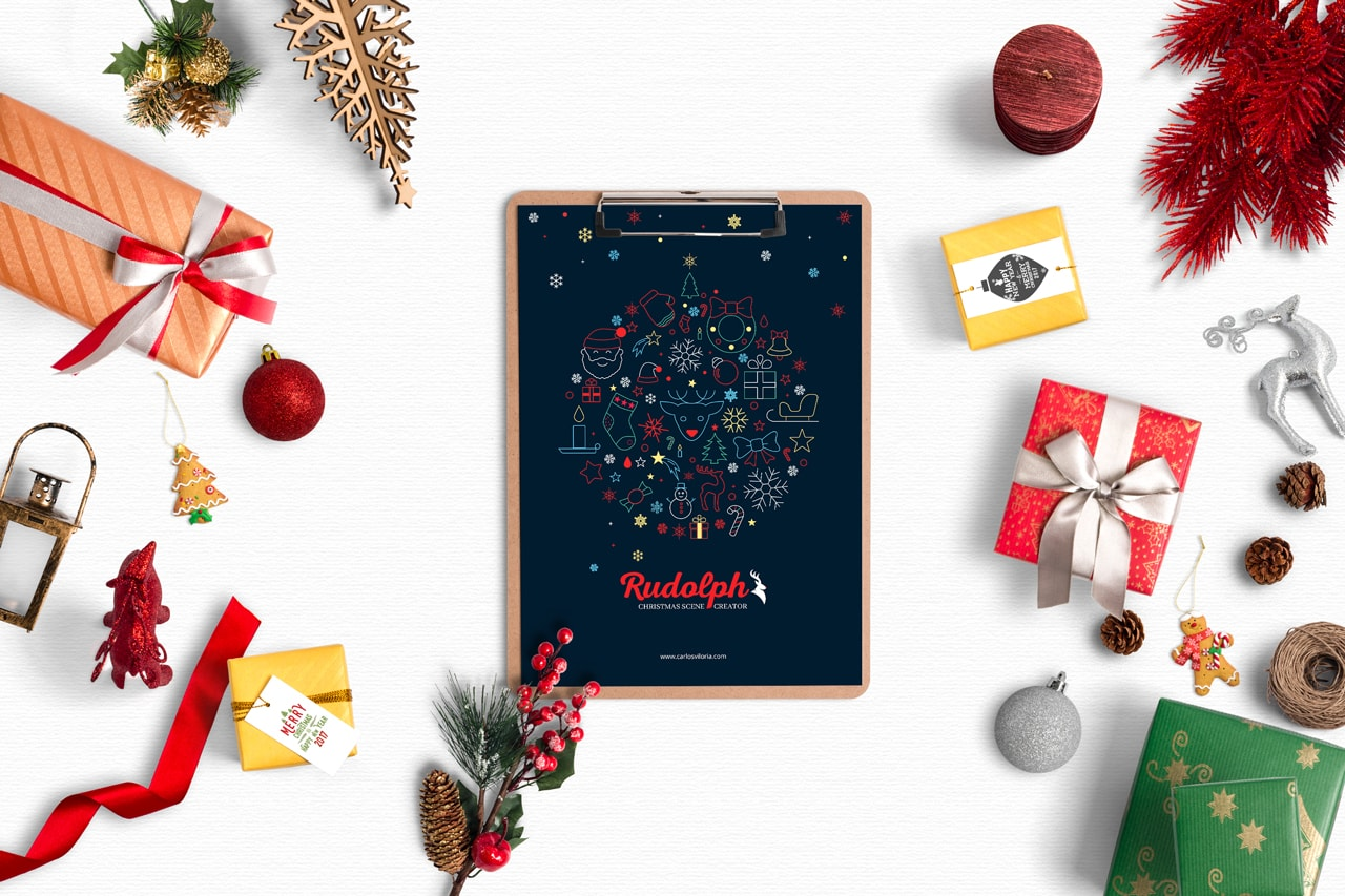 A4 Clipboard Christmas Scene Mockup 01