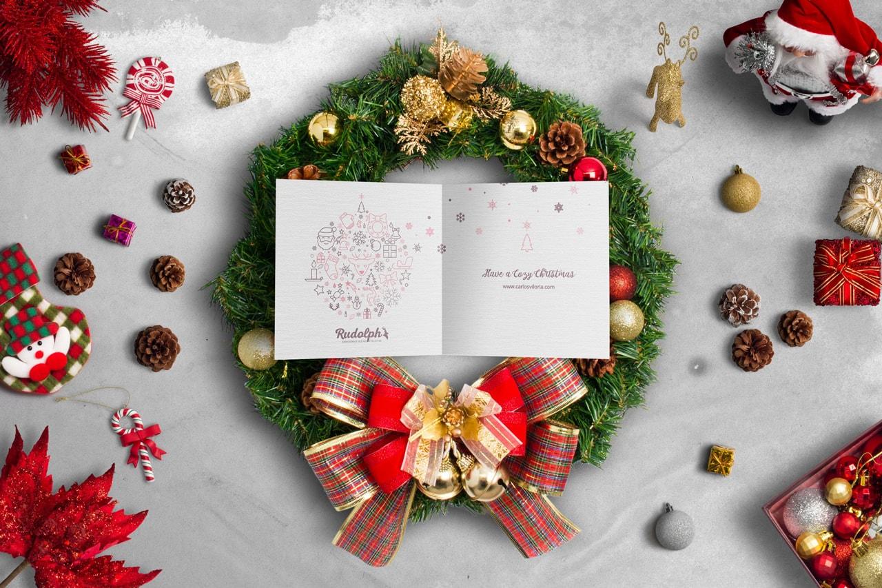 Square BiFold Christmas Greeting Card Scene Mockup 01