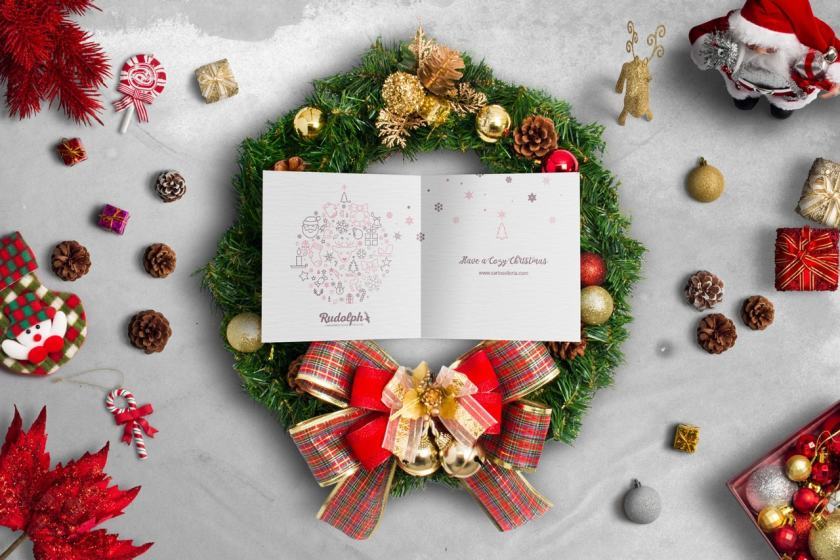 Square BiFold Christmas Greeting Card Scene Mockup 01