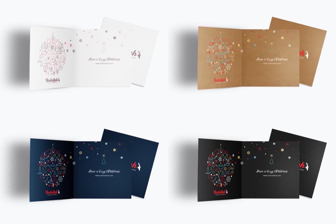 Christmas Greetings Card Mockup Template